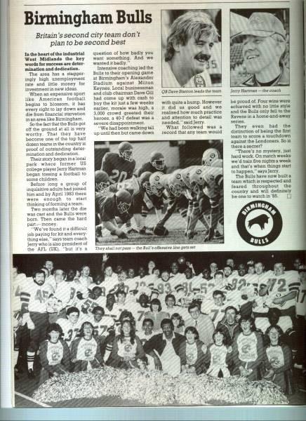 THE BIRMINGHAM BULLS AMERICAN FOOTBALL CLUB (1984 – 1988.)